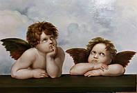 """Классические картины маслом. Картина Ангелы (фрагмент картины Рафаэля """"Сикстинская Мадонна"""") 55*80 см"""