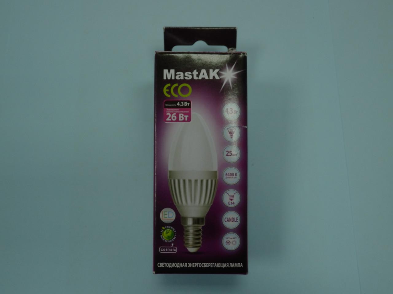Светодиодная лампа Mastak CAD03DS ( 4,3W LED Flame 230V 6400K E14 )