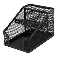 Подставка металлическая куб с отделением для ручек Axent, черная
