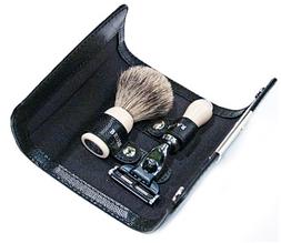 Набор для бритья MACH 3 с бежевой ручкой + помазок Best в кожаном чехле 128x94x30мм Dalvey D00771.