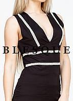 Платье черное со стразами