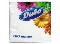 Салфетки Диво 25*25 см 100 шт однослойные, белые