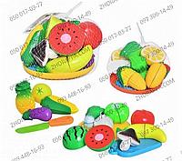 Продукты 2018 B, игровой набор, продукты на липучках, 11 шт, досточка, нож, тарелка, 2 вида (овощи, фрукты)