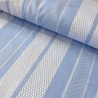 Тик матрасный в крупную голубую и белую полоску, ширина 2м, фото 1