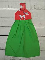 Полотенце кухонное , зеленое + красные гусочки
