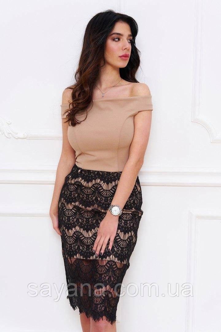 Женское платье с кружевом. Тс-5-0617