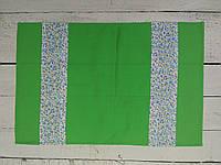 Полотенце кухонное обычное , зеленое  с  голубыми цветами