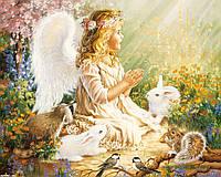 Картины по номерам 40 х 50 см. Ангелочек с зайчиками