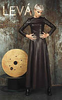 Длинное платье экокожа