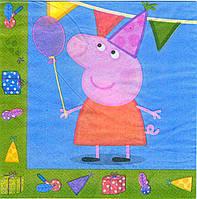 """Салфетки """"Peppa Pig"""" голубая. В упак: 15шт."""