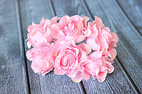 """Декоративные тканевые цветы """"Роза гипюр"""", 4 см, 60 шт/уп, розового цвета оптом"""