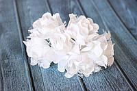 """Декоративные тканевые цветы """"Роза гипюр"""", 4 см, 6 шт/уп, белого цвета"""