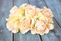 """Декоративные тканевые цветы """"Роза гипюр"""", 4 см, 6 шт/уп, кремово-персикового цвета"""