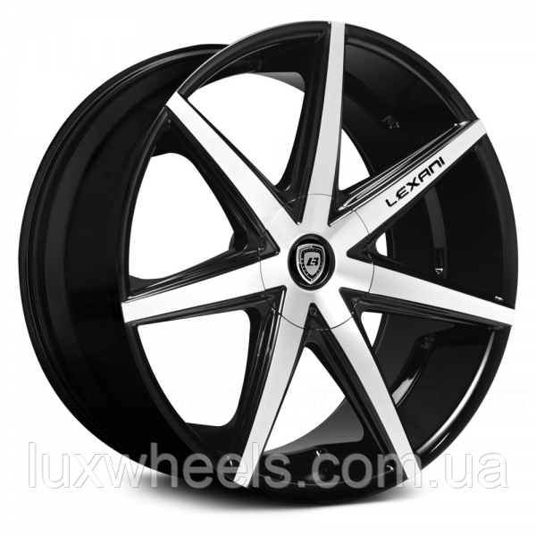 LEXANI R-7 Gloss Black with Machined Face (R20x8.5 PCD5x108 ET35 HUB74.1)