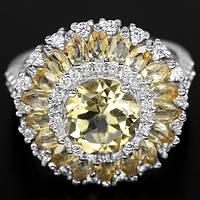 Серебряное кольцо 925 пробы с натуральным цитрином. Размер 17