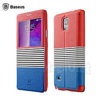 Baseus Eden Leather Case чехол-книжка для Samsung Galaxy Note 4 (n910) Синий/Красный