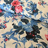 Лён стрейчевый итальянский с синими и розовыми цветами, ширина 135 см