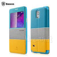 Baseus Eden Leather Case чехол-книжка для Samsung Galaxy Note 4 (n910) Жолтый/Синий