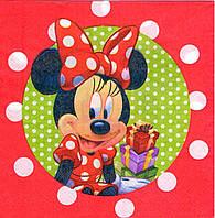 """Салфетки """"Minnie Mouse горох на зелёном"""". В упак:15шт"""