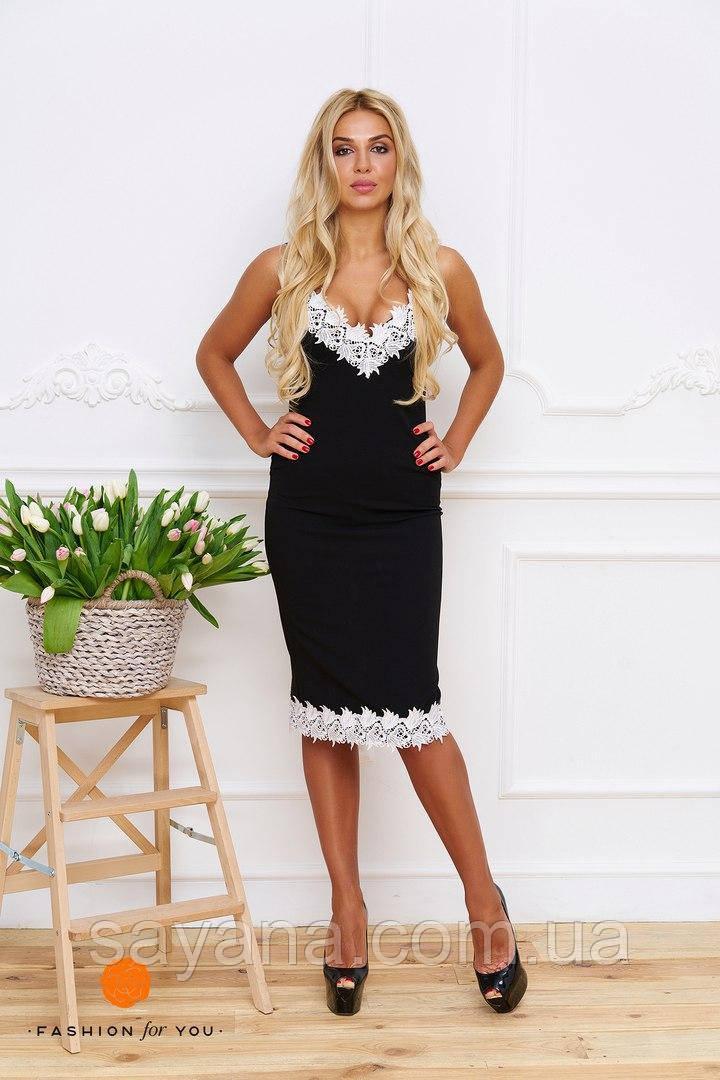 Женское платье с кружевом. Тс-19-0617