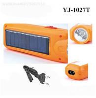 Фонарик YJ-1027T с аккумулятором и солнечной панелью, фото 1