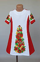 Платье для девочек с вышитыми маками и колосками