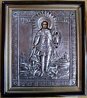 Икона серебром Архистратиг Михаил Победитель демонов, фото 1