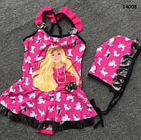 Купальник Barbie с шапочкой для девочки. 4, 6 лет