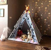 """Детский игровой домик, вигвам, палатка, шатер, шалаш, вігвам, дитячий будинок палатка """"Коты на сером"""""""