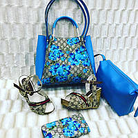 Набор GUCCI сумочка, босоножки, кошелек цвет: синий