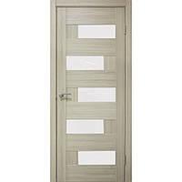 Двери межкомнатные Домино ПВХ остекленная, цвет  дуб беленный