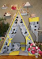 """Детский игровой домик, вигвам, палатка, шатер, шалаш, вігвам, дитячий будинок палатка """"Коты на желтом"""", фото 1"""