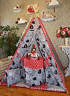 """Детский игровой домик, вигвам, палатка, шатер, шалаш, вігвам, дитячий будинок палатка """"Коты на красном"""", фото 1"""