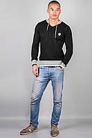 Мужской свитер 103 (черный со шнурком )