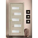 Двери межкомнатные Домино Омис  ПВХ остекленная, цвет дуб latte, фото 2