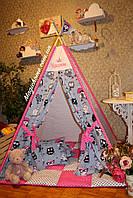 "Детский игровой домик, вигвам, палатка, шатер, шалаш, вігвам, дитячий будинок палатка ""Совушки на малиновом"""