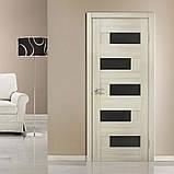 Двери  межкомнатные Домино ПВХ с черным стеклом (ЧС), цвет дуб беленый, фото 2