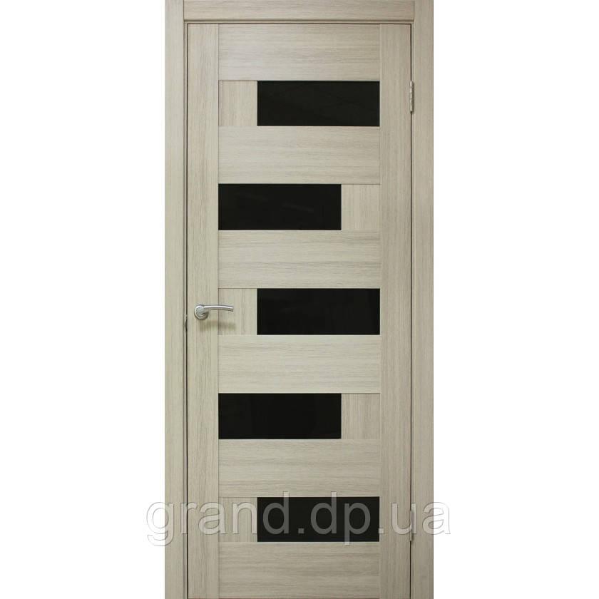Двери  межкомнатные Домино ПВХ с черным стеклом (ЧС), цвет дуб беленый