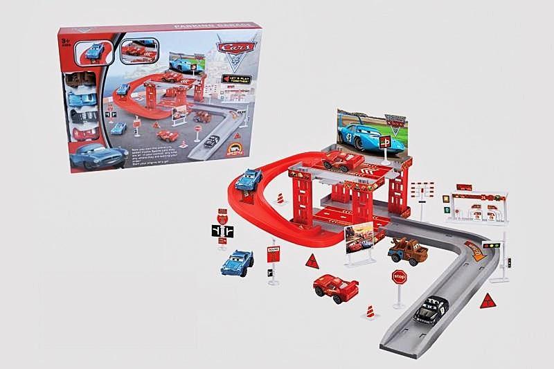 """Детская игра Паркинг """"Тачки"""" (CY180-1) 2 этажа, машинки 4шт, дорожн. знаки, в коробке"""