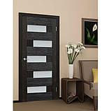Двери межкомнатные Домино ПВХ остекленная, цвет венге, фото 2