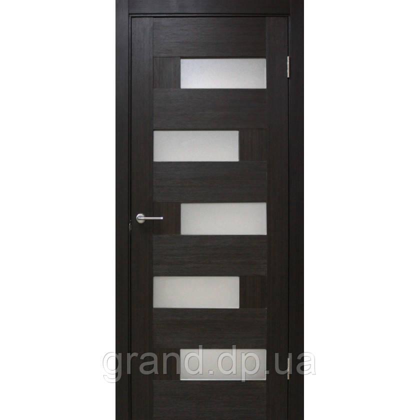 Двери межкомнатные Домино ПВХ остекленная, цвет венге