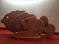 """Набір дерев'яних дощещок з підставкою для нарізки """"Рибки"""", фото 1"""