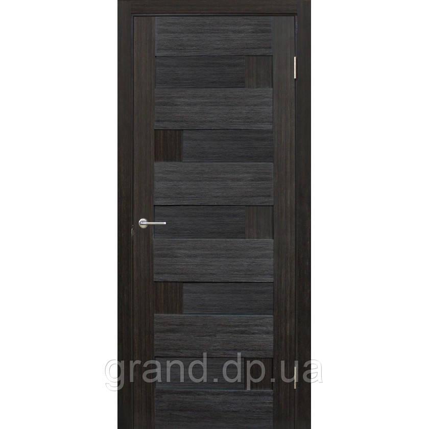 Двери межкомнатные Домино ПВХ глухая, цвет  венге