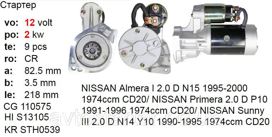 Стартер NISSAN Almera Primera Sunny 1.7 2.0 Diesel