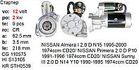 Стартер NISSAN Almera Primera Sunny 1.7 2.0 Diesel, фото 1