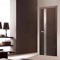 """Дверь межкомнатная """"Зеркало 3 ПВХ КР"""" со вставкой стекла с контурным рисунком, цвет каштан"""