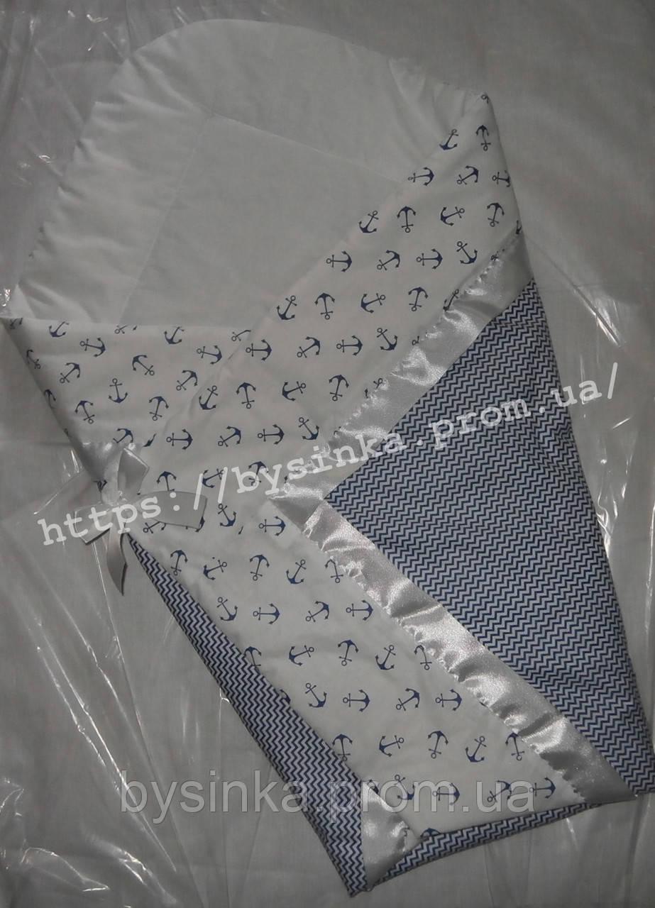 """Многофункциональный Конверт-плед-одеяло на выписку новорожденного """"Якорь"""""""