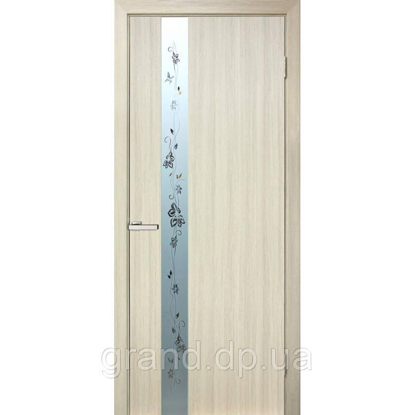 """Дверь межкомнатная """"Зеркало 2 ПВХ"""" со вставкой стекла с пискоструем и фьюзингом, цвет дуб беленый"""