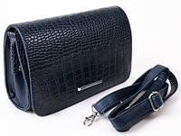 Женская кожаная сумка клатч каркасный синий, фото 1