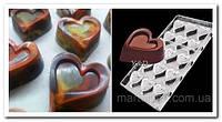 Сердце в сердце поликарбонатная форма для шоколадных конфет